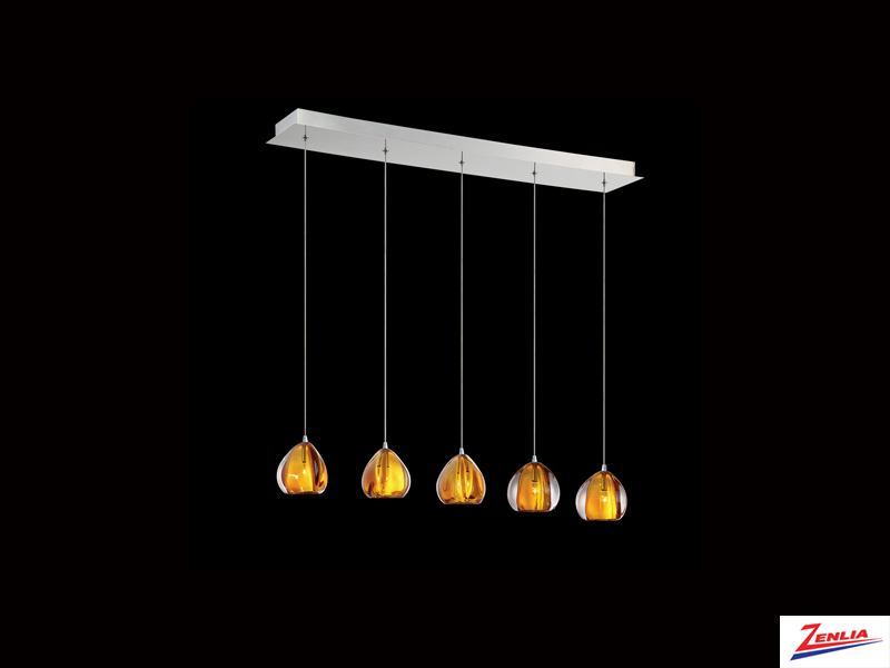 Luci 5 Light Linear Chandelier Amber