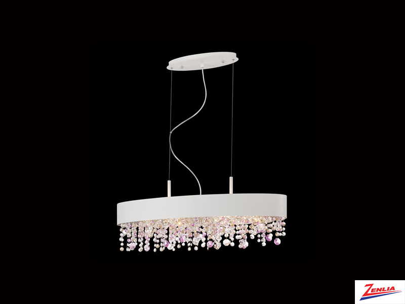 Roman 6 Light Oval Chandelier White Small