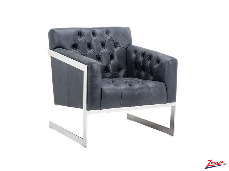 Broad Leather Armchair Blue