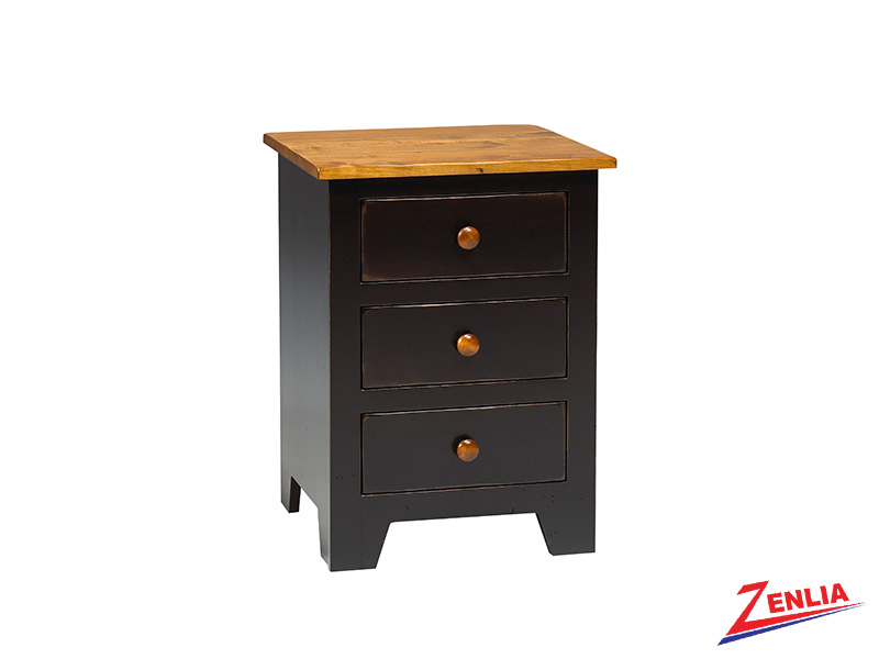 Rust 3 Drawer Night Stand Small