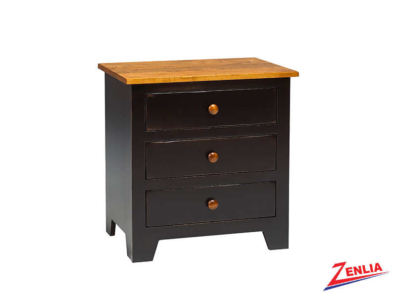 Rust 3 Drawer Night Stand Large