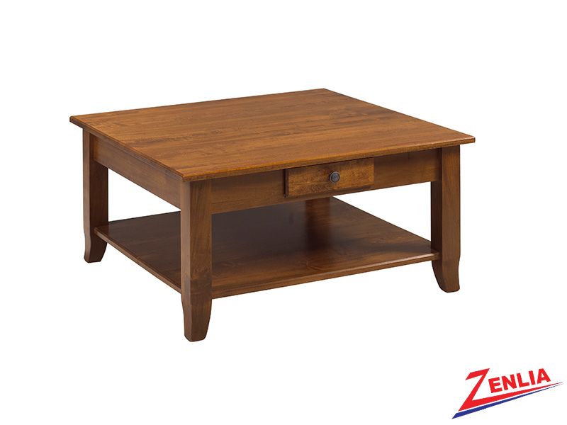 Bour 2 Drawer & Shelf Square Coffee Table