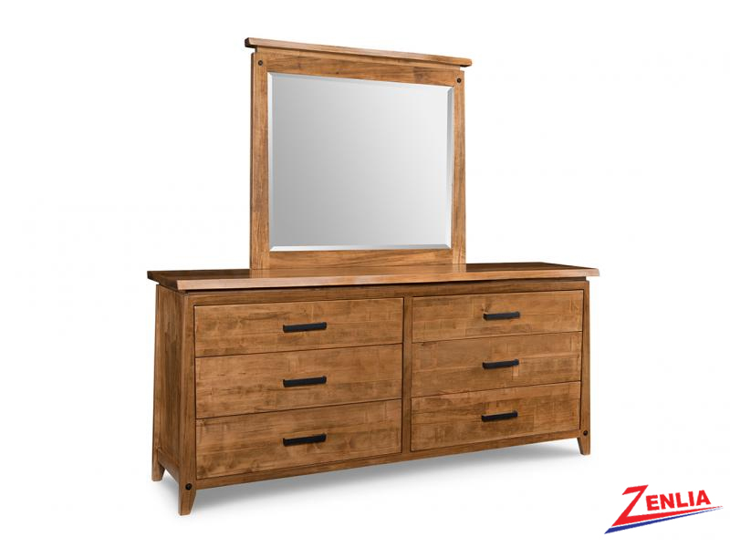 Pembe 6 Drawer Long Dresser And Mirror