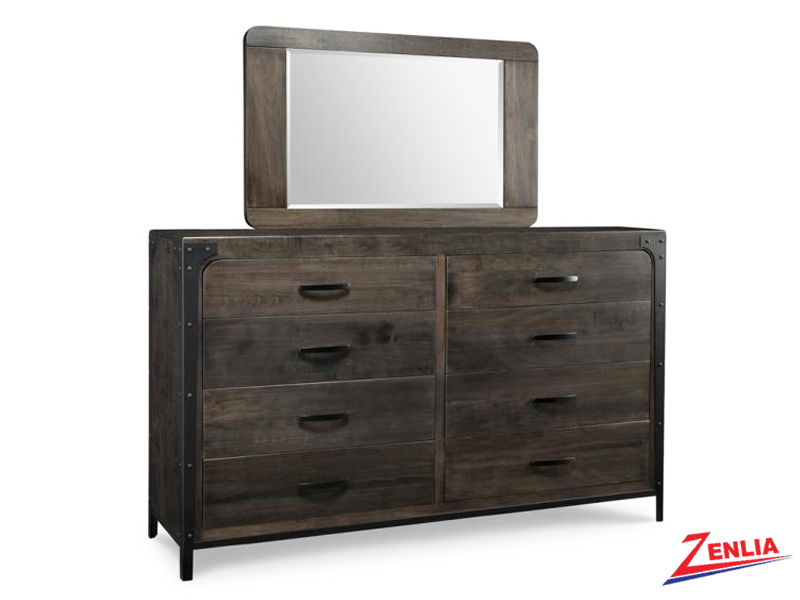 Port 8 Drawer Long High Dresser & Mirror