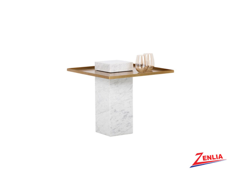 Vero White Marble End Table