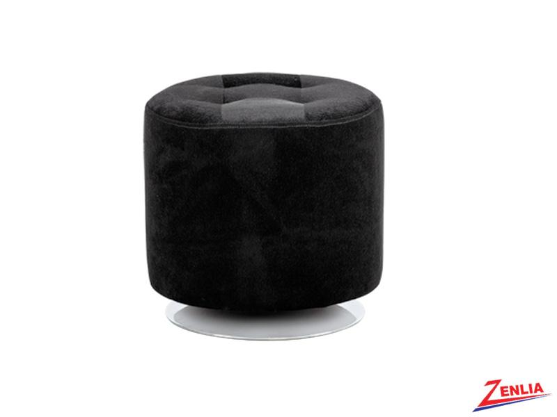 Doman Black Fur Ottoman
