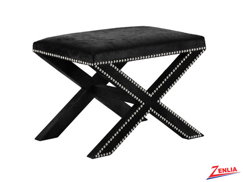 Whitne Black Leather Stool