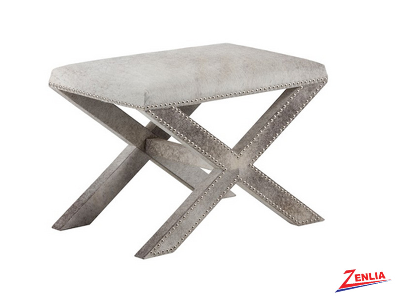 Whitne Grey Leather Stool