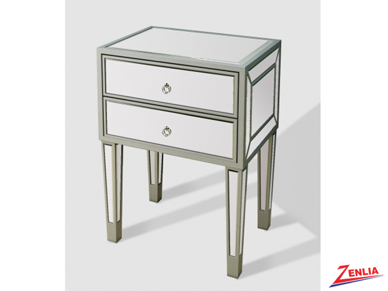 Silver 2 Drawer Night Stand