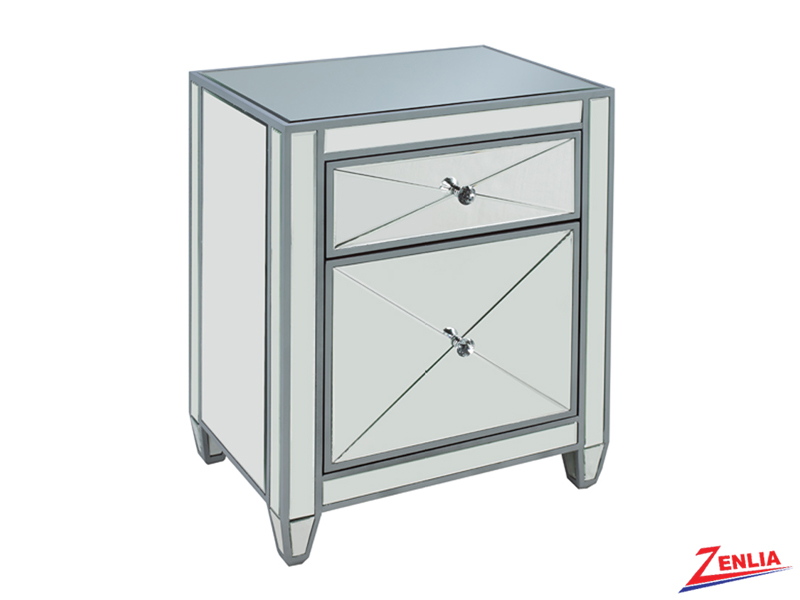 Two Drawer Silver Nightstand