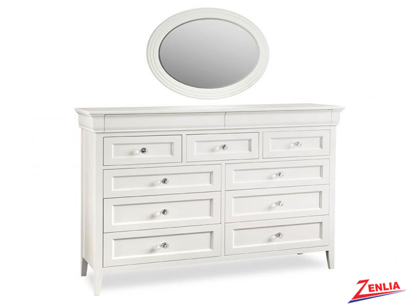 Monti 11 Drawer Long Dresser With Mirror