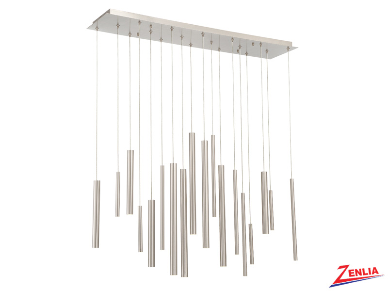 Sant 18 Light Led Satin Nickel Linear Chandelier