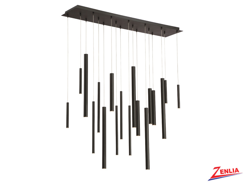 Sant 18 Light Led Black Linear Chandelier