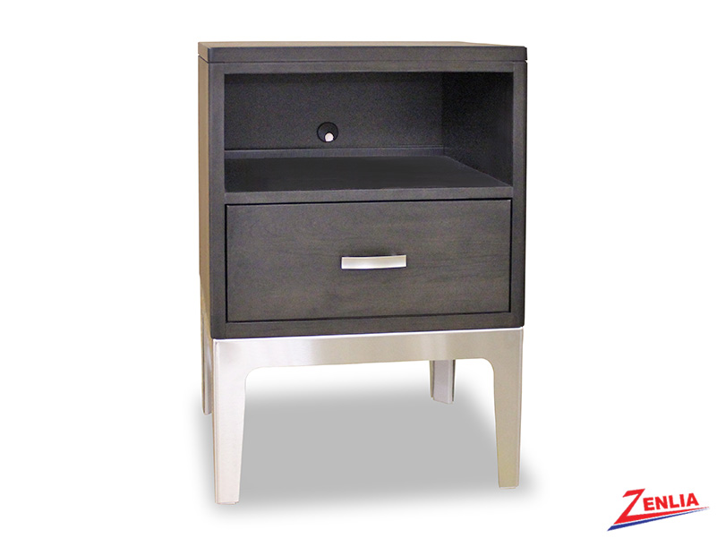 Defined One Drawer Night Stand With Metal Base