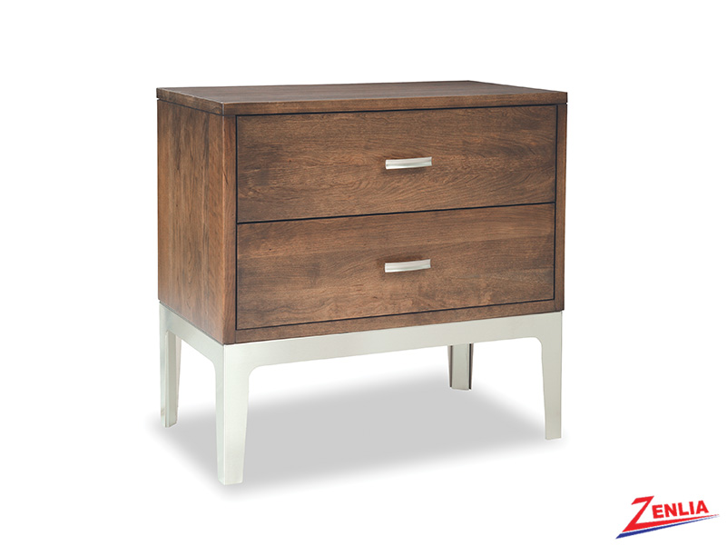 Defined Two Drawers Night Stand With Metal Base