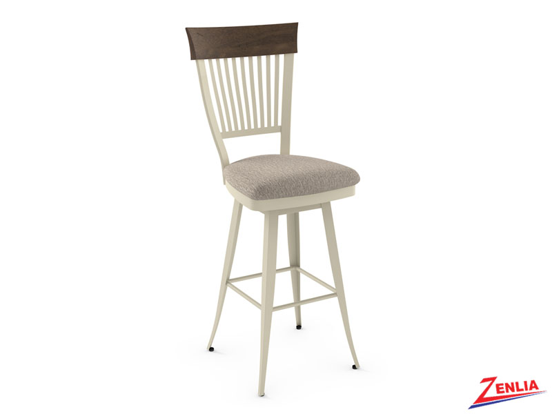 Style 41-419 Distressed Wood And Fabric Swivel Stool