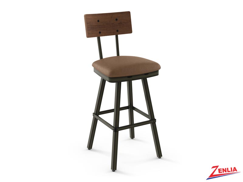 Style 41-567 Distressed Wood And Fabric Swivel Stool
