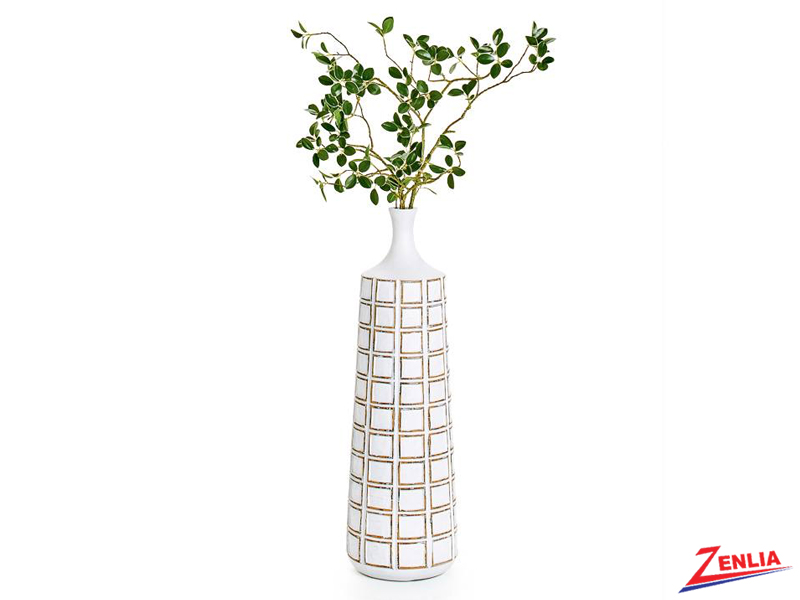 Atti White Grid Floor Vase