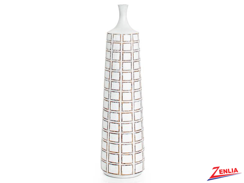 Atti Tall White Grid Floor Vase