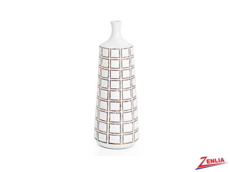 Atti White Grid Small Floor Vase
