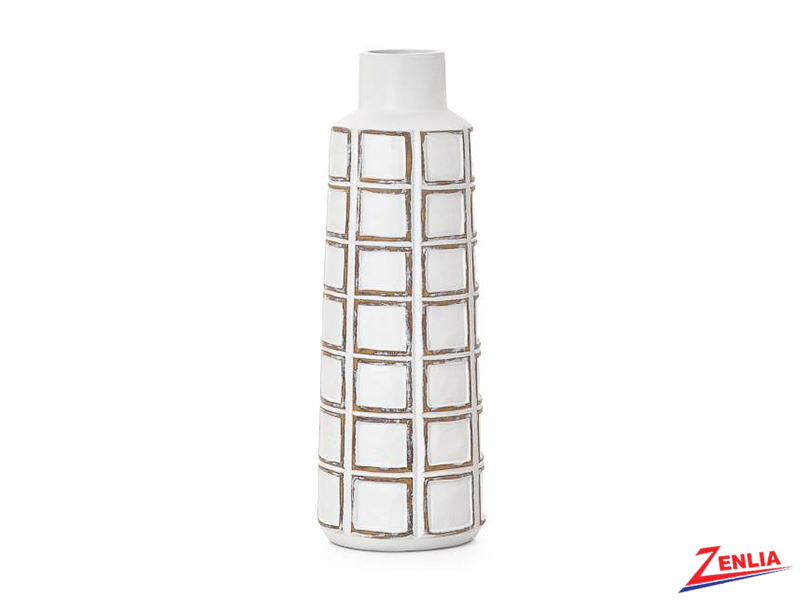 Atti White Grid Bottle Vase