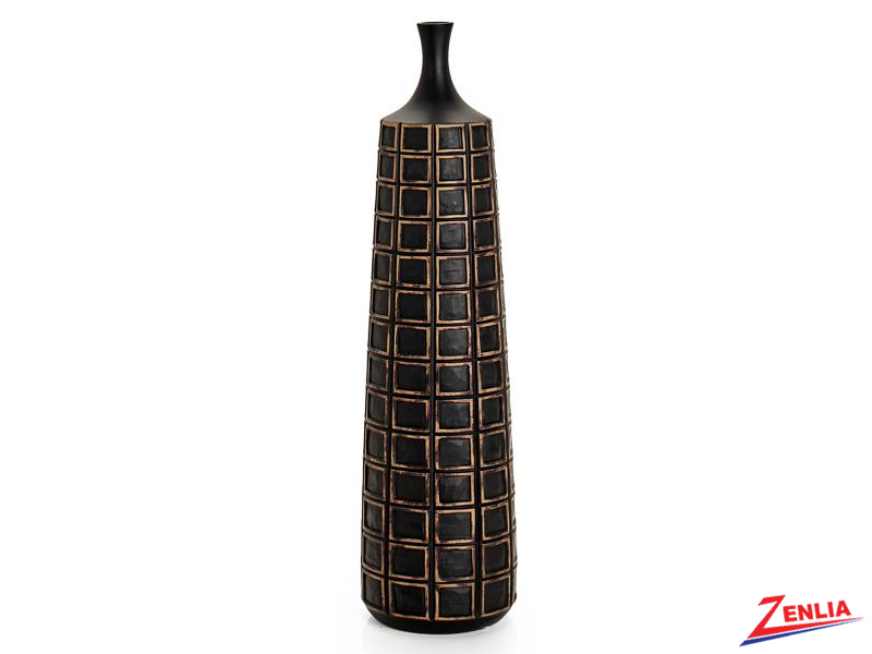 Atti Tall Black Grid Floor Vase