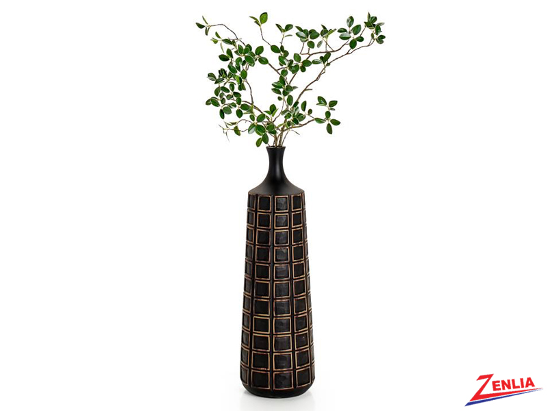 Atti Black Grid Floor Vase