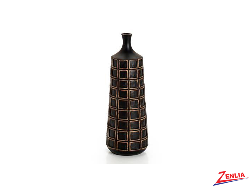 Atti Black Grid Small Floor Vase