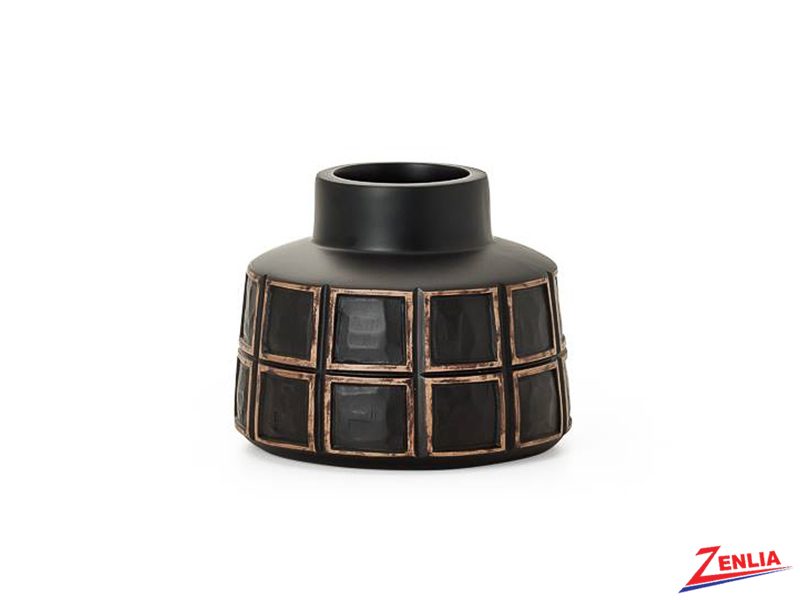 Atti Small Black Grid Bottle Vase