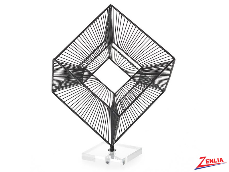 3d Radiant Cube Decor Sculpture In Black