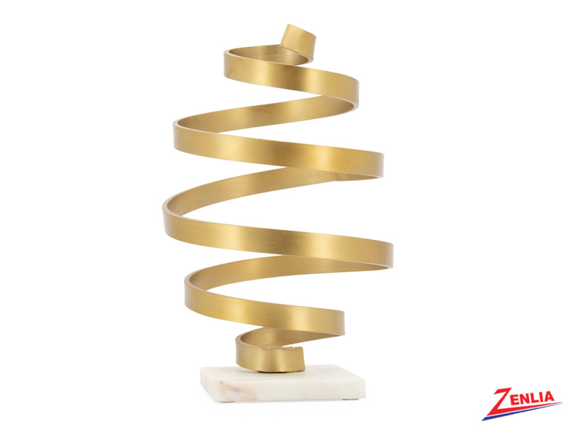 Whirlwind Gold Aluminum Sculpture On Marble Base