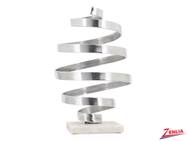 Whirlwind Silver Aluminum Sculpture On Marble Base