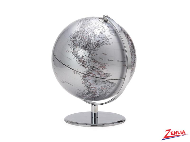 Silver Latitude World Globe