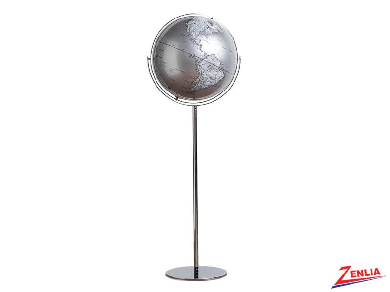 Silver Latitude Standing Floor Globe