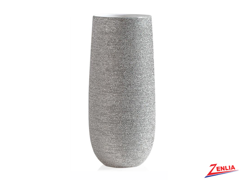 Brav Silver Spun Textured Tall Vase