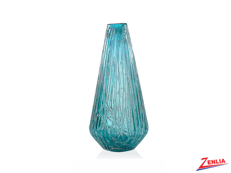 Glaci Short Tapered Glass Vase In Teal