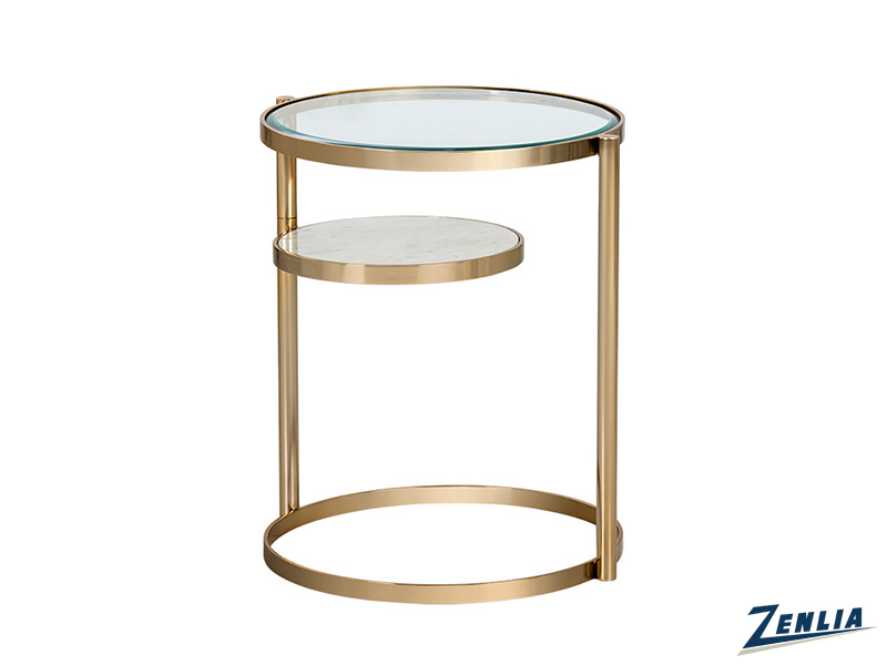 Heli Antique Brass End Table