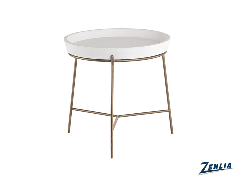 Rem White Concrete End Table