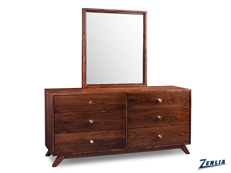 Tribe 6 Drawer Long Dresser With Mirror