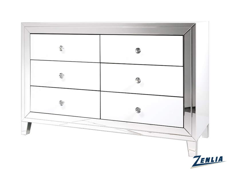 White Mirrored Dresser With Six Drawers