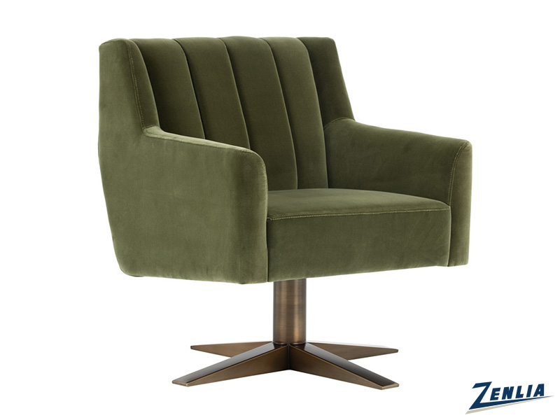 Cent Swivel Chair - Antique Brass Giotto Olive