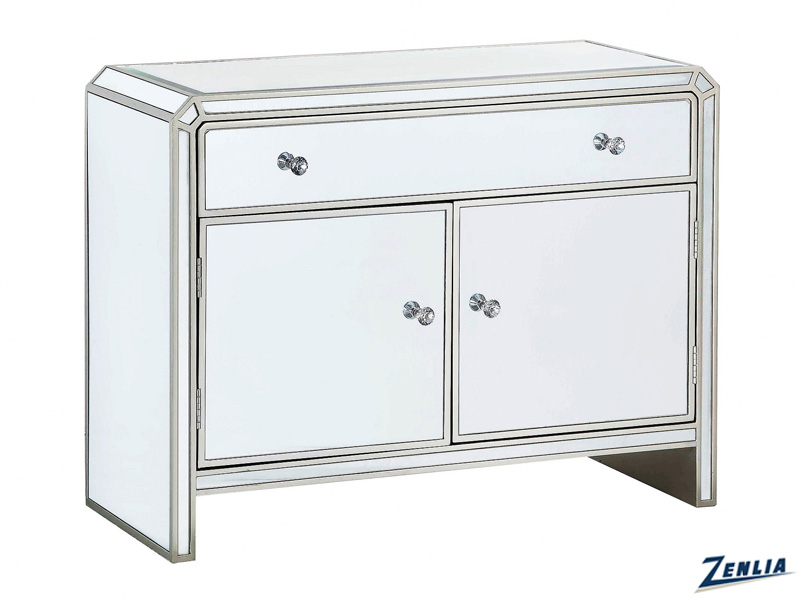 Two Door 1 Drawer Mirrored Cabinet