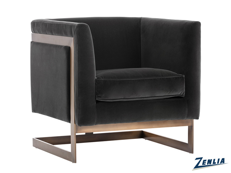 Soh Armchair -  Antique Brass - Giotto Shale Grey