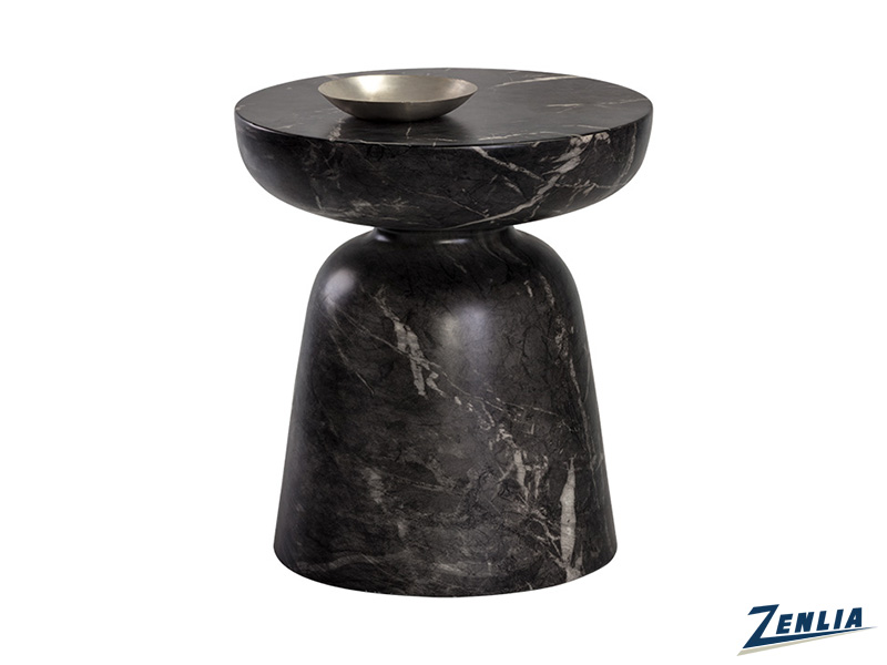 Luc End Table - Marble Look - Black