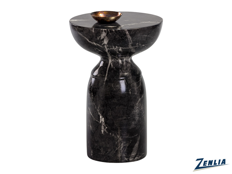 Goy End Table - Marble Look - Black